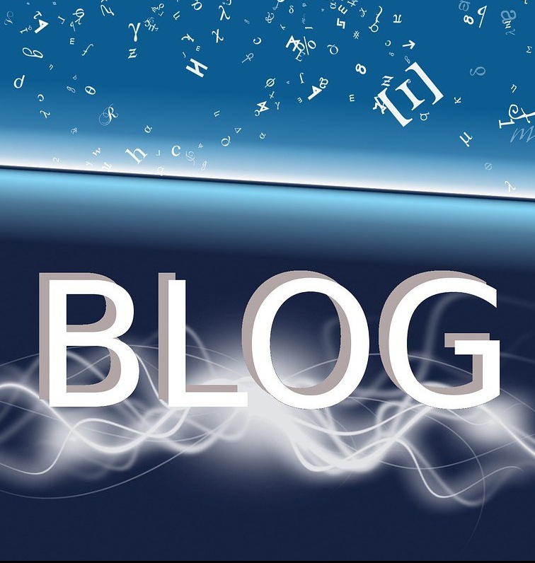 Photo of the word blog in white letters against a blue background.