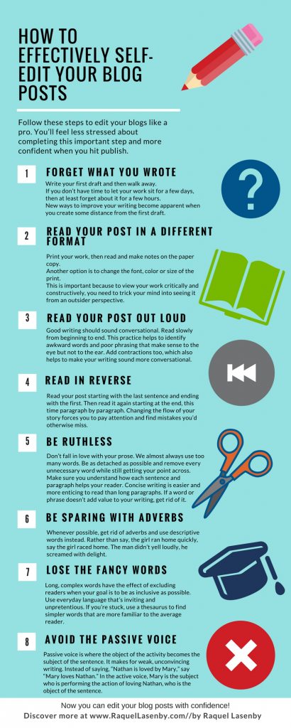infographic outlining the 8 steps to effectively self-edit your blog posts